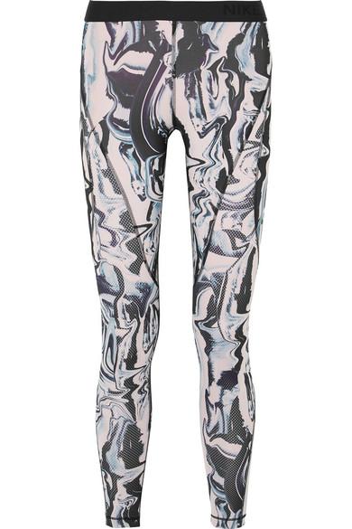 Nike Hypercool bedruckte Leggings aus Dri-FIT-Stretch-Material mit Partien aus Mesh