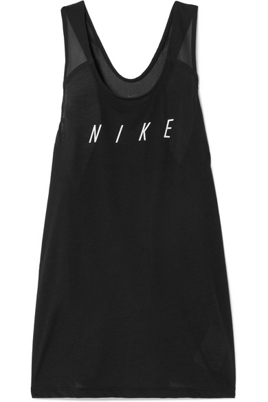 Nike Breathe Tanktop In Printed Stretch-jersey With Mesh Inserts