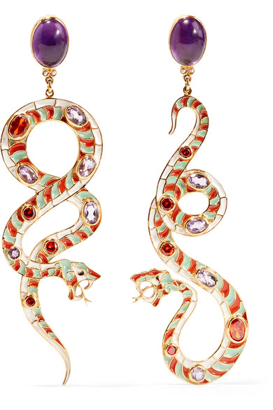 Percossi Papi - Gold-plated, Enamel And Multi-stone Earrings