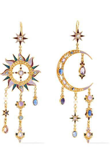 PERCOSSI PAPI 24-KARAT GOLD-PLATED MULTI-STONE EARRINGS