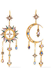 Percossi Papi 24-karat gold-plated multi-stone earrings