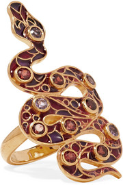 Percossi Papi 9-karat gold and enamel garnet and amethyst ring