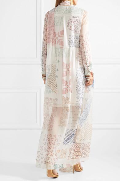 Chloé Bedruckte Robe aus Seidenchiffon