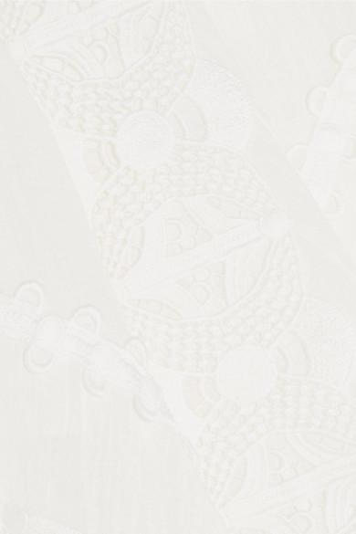 Chloé Asymmetrischer Rock aus Leinen mit Besatz aus Häkelspitze