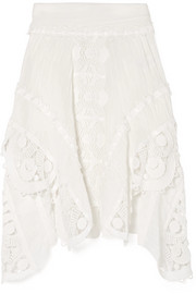 Chloé Asymmetric crocheted lace-trimmed linen skirt