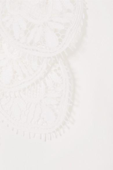 Chloé Seidenbluse aus Crêpe de Chine mit Lochstickereibesatz