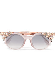 Jimmy Choo Vivy/S embellished round-frame acetate and rose gold-tone sunglasses
