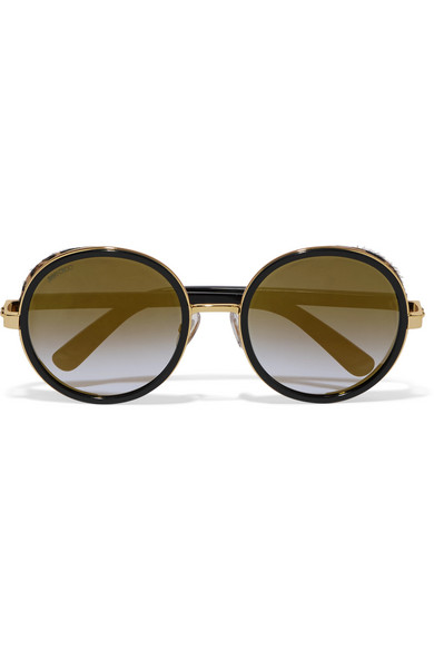 Jimmy Choo - Andie Round-frame Gold-tone, Acetate And Calf Hair Sunglasses - Black