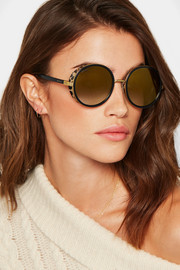 Jimmy Choo Andie round-frame gold-tone, acetate and calf hair sunglasses