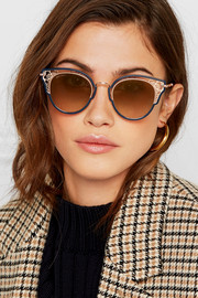 Dhelia cat-eye rose gold-tone and acetate sunglasses