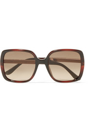 Jimmy Choo Chari square-frame glittered acetate sunglasses