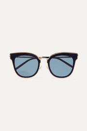 Jimmy Choo Nile cat-eye glittered suede and gold-tone sunglasses