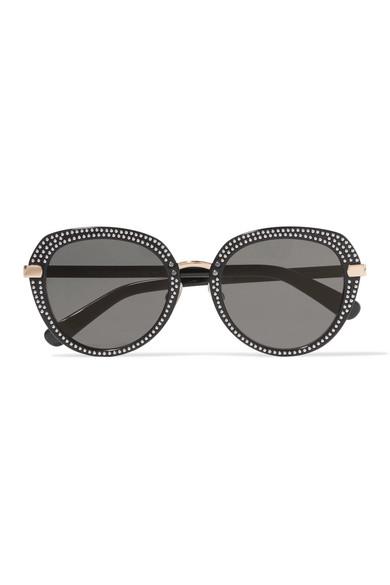 Round-frame Embellished Rose Gold-tone And Acetate Sunglasses - one size Jimmy Choo London MpzKpz4oz