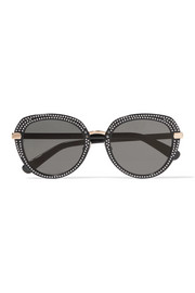 Jimmy Choo Mori embellished round-frame acetate sunglasses