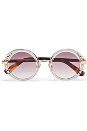 Jimmy Choo Gem Swarovski crystal-embellished round-frame acetate and gold-tone sunglasses