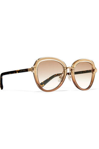 Andie Round-frame Gold-tone, Acetate And Calf Hair Sunglasses - Black Jimmy Choo London