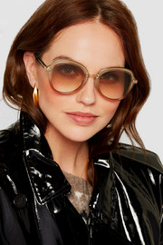 Jimmy Choo Dree round-frame acetate and gold-tone sunglasses