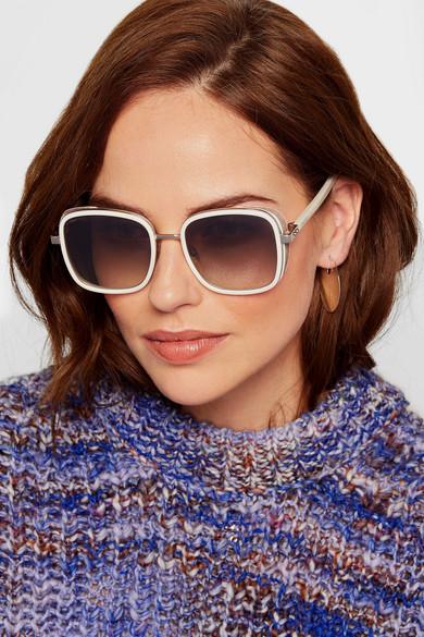 ea2dad2847b Jimmy Choo. Elva square-frame acetate and glittered suede sunglasses