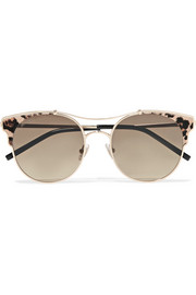 Jimmy Choo Lue/S cat-eye calf hair-trimmed silver-tone sunglasses