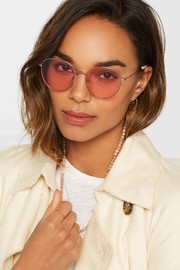 Gilmour round-frame bead-embellished rose gold-tone sunglasses