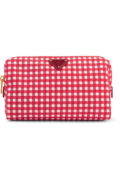 large-leather-trimmed-gingham-canvas-cosmetics-case by prada