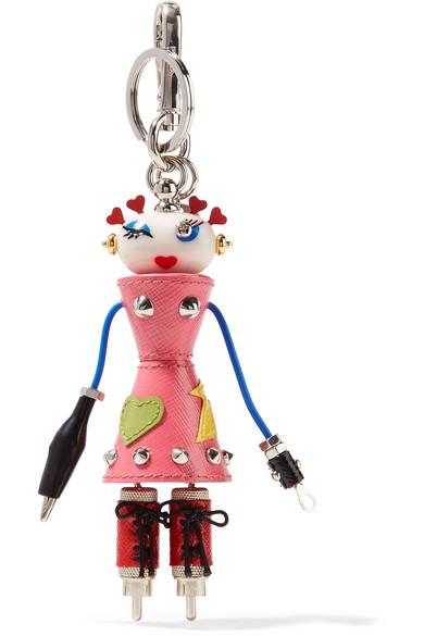 Prada Nana verzierter Schlüsselanhänger aus strukturiertem Leder