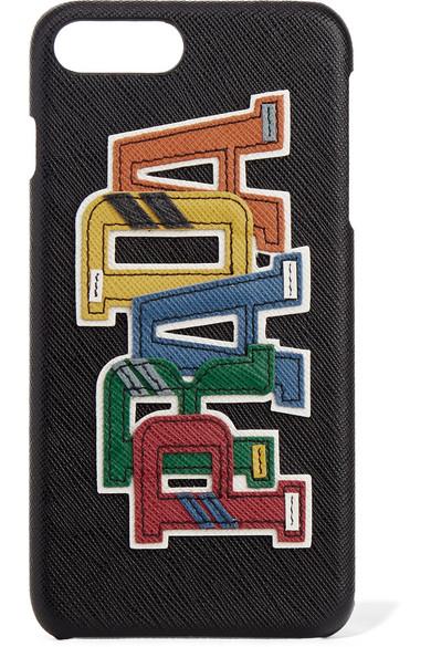 Appliquéd Textured-Leather Iphone 7 Plus Case in Black