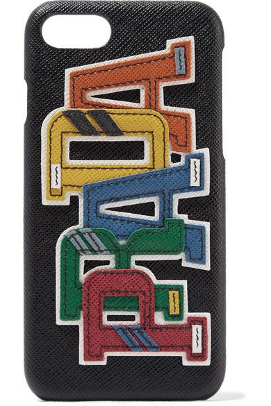 e46e3148f9a1 Prada | Appliquéd textured-leather iPhone 7 case | NET-A-PORTER.COM