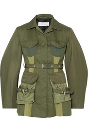 Paneled shell and drill jacket