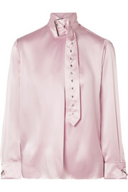 Buckle-embellished silk-satin blouse