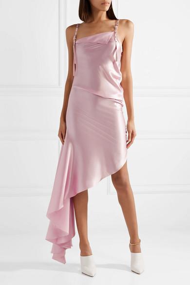 Marques' Almeida Kleid aus Seidensatin mit Canvas-Besatz