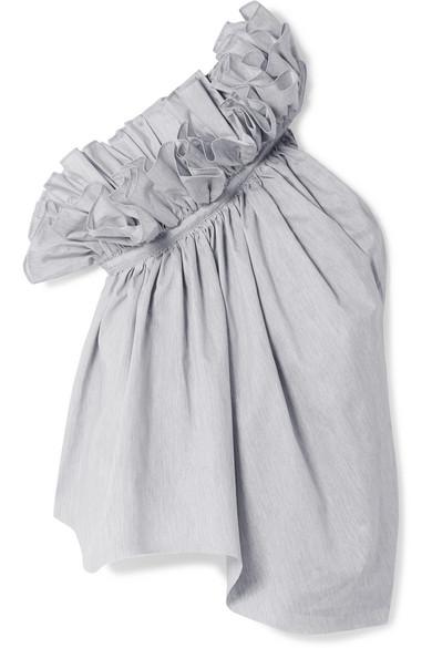 Marques' Almeida Popelinebluse aus einer Baumwollmischung mit asymmetrischer Schulterpartie und Rüschen