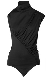 Asymmetric ruched cotton-jersey top