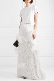 Marques' Almeida Feather-embellished fil coupé satin maxi skirt