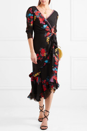 Twist-back ruffled asymmetric silk-blend jacquard midi dress