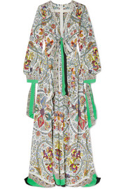 Etro Corded lace-trimmed printed silk maxi dress