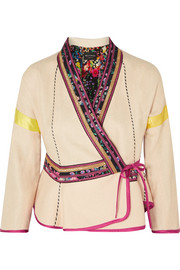 Satin-trimmed embroidered linen-blend wrap jacket