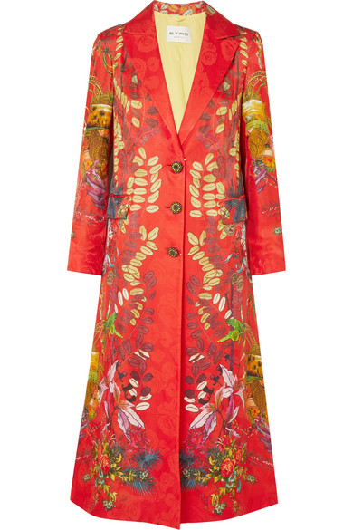 Etro - Printed Jacquard Coat - Red