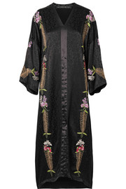 Embroidered satin-jacquard maxi dress