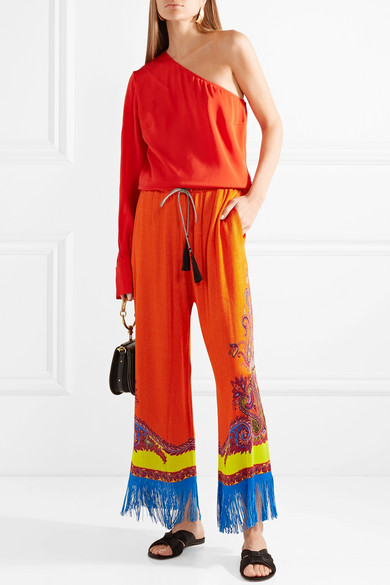 Fringed Printed Knitted Wide-leg Pants - Orange Etro NNWNO