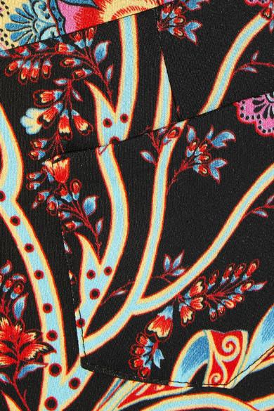 Etro Satinhose mit weitem Bein und Blumenprint