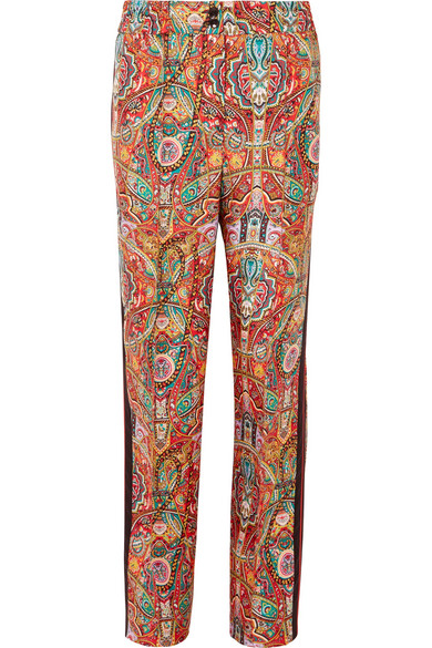 Etro Pants With Wide Leg Made Of Printed Silk-twill With Satin Ribbon And Braid