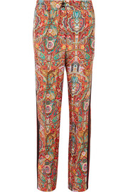 Etro Satin-trimmed printed silk-twill wide-leg pants