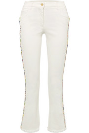 Etro Embroidered high-rise flared jeans