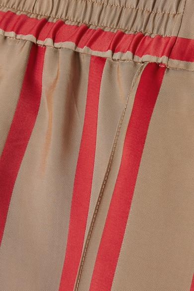 Etro Gestreifte Hose mit weitem Bein aus glänzendem Twill