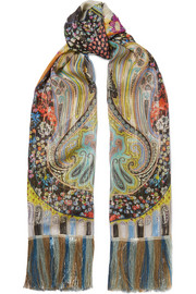 Fringed printed metallic silk-chiffon scarf