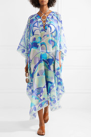 Emilio Pucci Embellished printed cotton and silk-blend kaftan