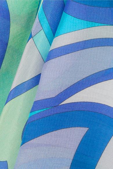 Emilio Pucci Nigeria bedrucktes Maxikleid aus Voile aus einer Baumwoll-Seidenmischung