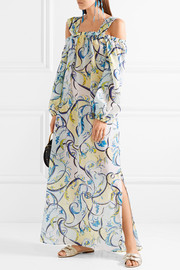Emilio Pucci Nastri cold-shoulder printed cotton and silk-blend maxi dress