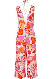 Emilio Pucci Nigeria embellished printed cotton and silk-blend jumpsuit